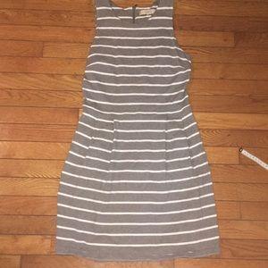 LOFT gray pleated cotton dress, Gray /White, Small